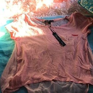 Elizabeth and James Sz L Peach top short sleeve